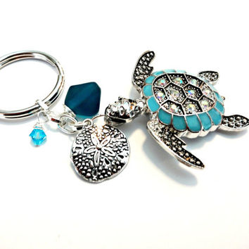 Turquoise Sea Turtle Keychain, Turtle Jewelry, Tropical Key Ring, Sand Dollar Charm, Sea Glass Purse Charm, Crystal Keychain