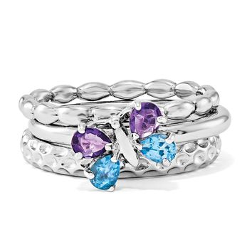 Rhodium Plated Sterling Silver Stackable Gemstone Butterfly Ring Set