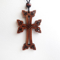 New Armenian Cross Pendant Chain Handmade Wood Cross Necklace Religious Jewelry Armenia Hand Made Handcrafted Woman Necklace