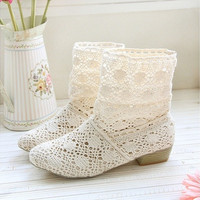 Female Summer Breathable Bootie with The New Shoes, Lace Openwork Crochet Boots, Size 35-39, Hollow Fashion Women Boots [8238483463]
