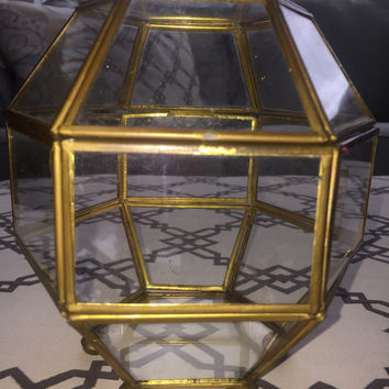 Vintage Brass Glass Display Box - Geometric