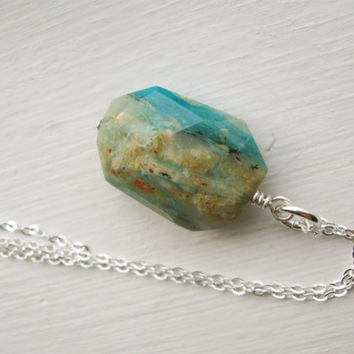 Peruvian Opal long necklace, turquoise aqua blue ivory gemstone