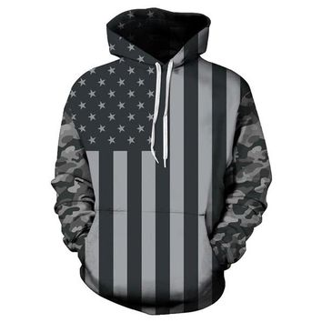 American Flag Military Tactical Printed Pullover Hoodie