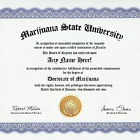 Marijuana Smoking Pot Smoker Degree: Custom Gag Diploma Doctorate Certificate (Funny Customized Joke Gift - Novelty Item)