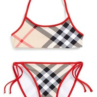 Girl's Burberry Check 'Sancia' Two-Piece Swimsuit