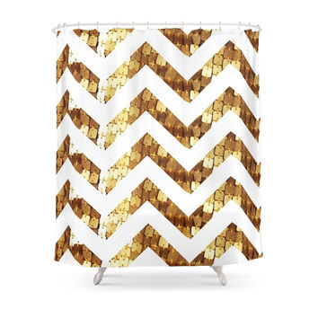 Society6 Gold Sequin Chevron Shower Curtain