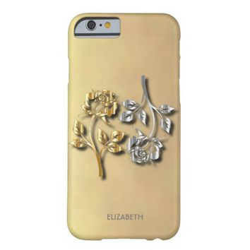 Two Golden And Silver Roses With Shadows Barely There iPhone 6 Case
