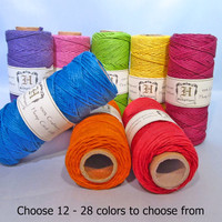 Choose 12 Macrame Hemp Cord 1mm, Solid Color, Bulk Hemp, Hemptique, 205 Feet Each Spool, Jewelry Making Hemp String, Scrapbooking Hemp Twine