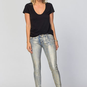 Coated Gold Perfection Foil Python Jeans SP1079