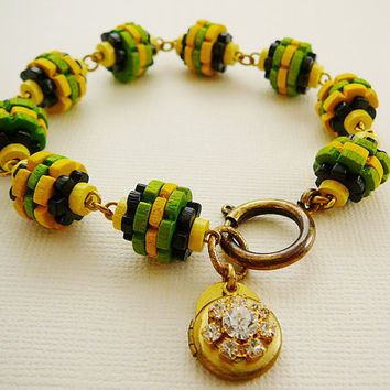 Wood Locket Bracelet, Beads. Green, Yellow, Black, Rhinestone Charm