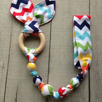 Rainbow Zig Zag Tula snap teether, rainbow Tula teether, teething ring, fabric teether, car seat teething toy, wood teething ring