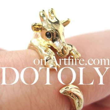 Baby Giraffe Animal Wrap Around Ring in Shiny Gold - Sizes 4 to 9