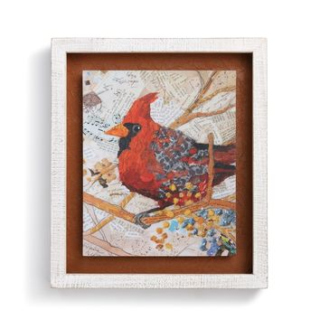 Cardinal with Berries Shadow Box Wall Art