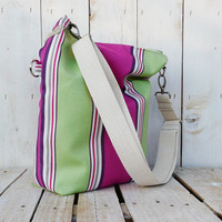 canvas tote stripes beach bag shopping bag modern everyday bag pink and green spring - summer fold over bag
