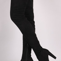 Wild Diva Lounge Suede Drawstring Chunky Heeled Thigh High Boots | UrbanOG
