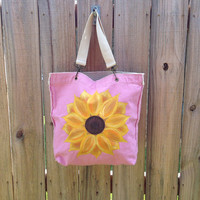 Authentic Pigment Raw Edge Tote in Pink with Hand Painted Sunflower