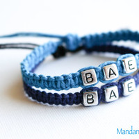 Turquoise and Navy BAE Bracelets, Before Anyone Else, Handmade Hemp Jewelry for Couples, Best Friends, Anniversary Gift, Quirky Jewelry
