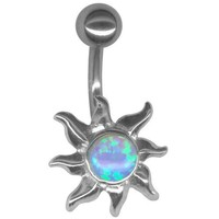 A-Gorgeous Imitation Blue Opal Sun Belly Button Ring 14 gauge 3/8 Steel Barbell-Non Dangle Navel Ring