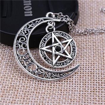 New Supernatural Necklace Witch Protection Crescent Moon Knot Pentagram Supernatural Amulet Necklace Pendant