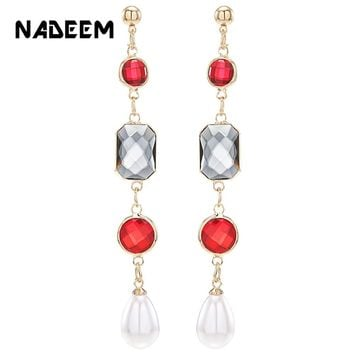 Fashion Female Gold Color Multi Crystal Beads Tassel Earrings for Women Long Red Dangle Drop Pearl Earing Wedding Jewelry Gift