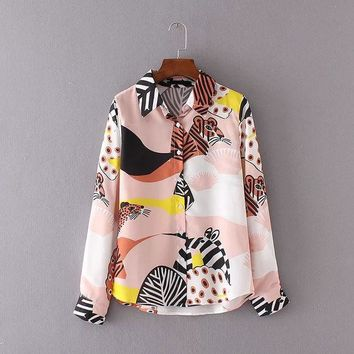 DCCKF4S Kawaii Ladies Shirts Cartoon Animal Print Chiffon Blouse Women Tops Multicolor Turn-Down Collar Long Sleeve Shirt Women Blouses