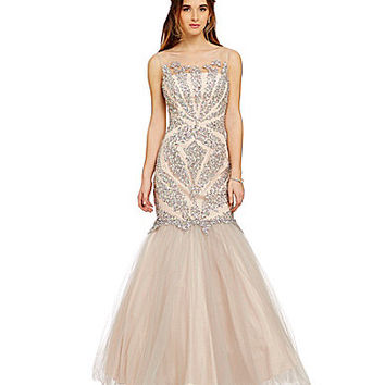 Glamour by Terani Couture Illusion Beaded Trumpet Gown | Dillards.com