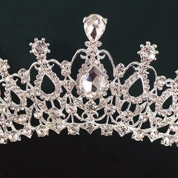 Crown - Large Bridal Rhinestone Tiara Headpiece - Ships from GA, USA