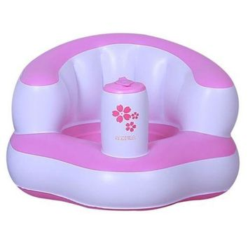 Inflatable Bath Stool Sofa Chair Children Baby   pink