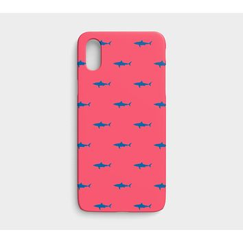 Shark Cell Phone Case iPhone X / XS - Blue on Coral