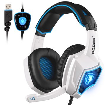 New Updated SADES Spirit Wolf 7.1 Surround Stereo Sound USB Computer Gaming Headset with Microphone,Over-the-Ear Noise Isolating,Breathing LED Light For PC Gamers (Black & White)