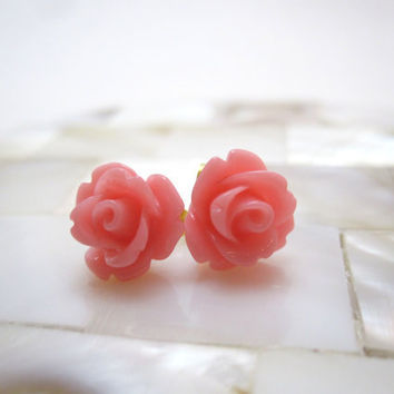 Peachy pink rosette earrings light pink roses by LazyOwlBoutique