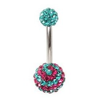 Morbid Metals Pink Blue Swirl Bling Curved Barbell - 127117