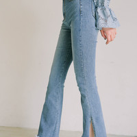 Frayed Side Slit Boot Cut Jeans