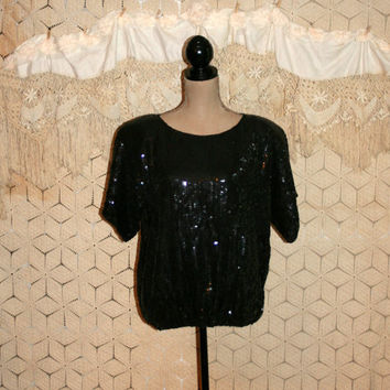 80s Cocktail Blouse Black Sequin Blouse Dressy Blouse Evening Blouse Short Sleeve Dolman Sleeve Sparkly XL 1X Plus Size Womens Clothing