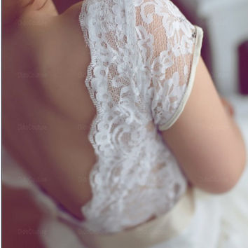 Romantic V-neck Short Sleeves Beach Wedding Dress,Lace Beach Bridal Gown,Open Back Bridal Dress