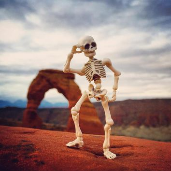 Skeleton Skull Body Mini Moveable Joint PVC Action Figure Model Doll Collectible Gift 9cm