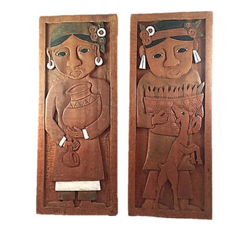 Vintage Hand Carved Wooden Folk Art Wall hanging |  Wood Art |  Pair Farmer and Wife |  Carved Wood Wall Art