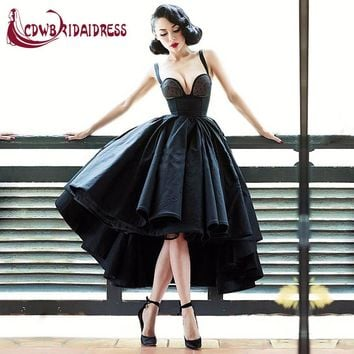 Vintage Little Black Spaghetti Strap Cocktail Dresses Sexy Satin Sweetheart Short Front Long Back Zipper Lovely Women Party Gown