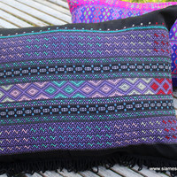 Purple Boho Pillow / Cushion Cover in Ethnic Karen Colorful Woven Cotton With Fringe