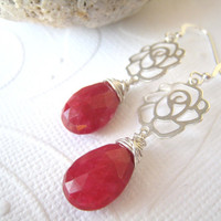 Sterling Silver Roses Earrings Ruby Dangle Valentine's Gift