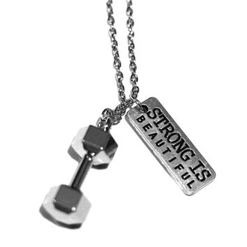 Strong Is Beautiful + Dumbbell Charm Necklace - Weightlifting Exercise Crossfit Fitness Charm Lifting Kettlebell Pendant Gift