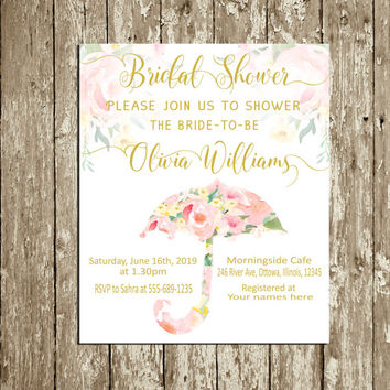 Bridal Shower invitation Printable Pink and Gold Personalized Umbrella Bridal Shower Invite Watercolor floral Digital Custom Bridal Shower