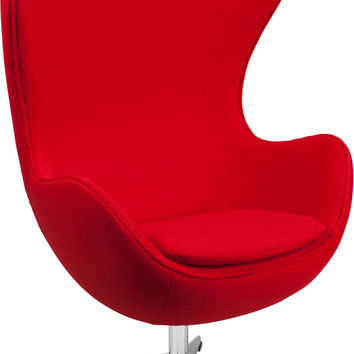 Red Wool Fabric Egg Chair
