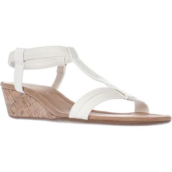 A35 Voyage T Strap Wedge Sandals, White, 8.5 US