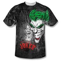 Batman Men's  Joker Sprays The City Sublimation T-shirt White Rockabilia
