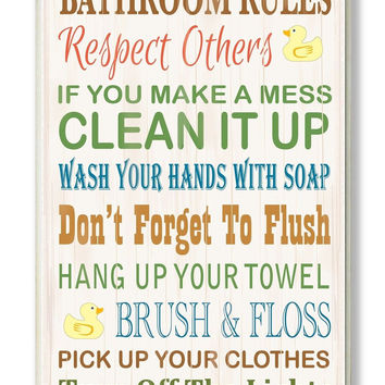 The Stupell Home Decor Collection Bathroom Rules Typography Rubber Ducky Bath...