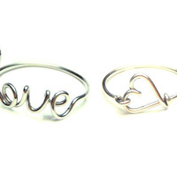 two cute wire rings- special offer- sterling silver love and heart rings