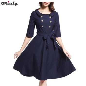 Fashion Women Navy Blue Dress Brief Solid Peter Pan Collar Fit and Flare Dresses Double-Breasted Cotton Slimming Casual Dress