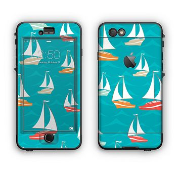 The Vector Colored Sailboats Apple iPhone 6 Plus LifeProof Nuud Case Skin Set