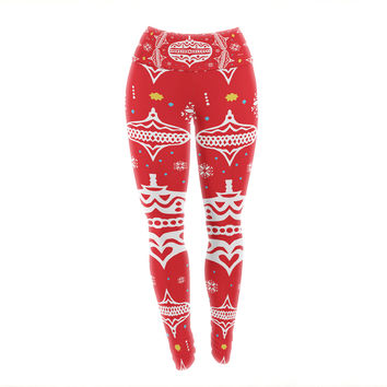 "Miranda Mol ""Deco Wreath Red"" Scarlet Yoga Leggings"